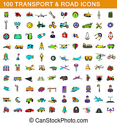 100, estilo, transporte, caricatura, jogo, ícones