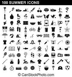 100, estilo, verão, jogo, ícones simples