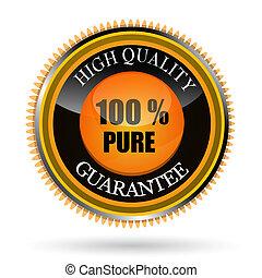 100%, etichetta, puro