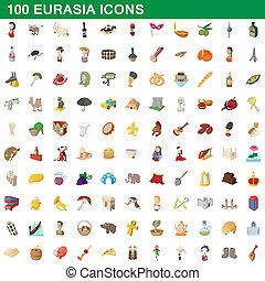 100 eurasia icons set, cartoon style