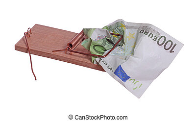 100 euro bank note in mouse trap