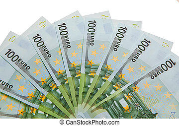 100 Euro banknotes isolated over white background.