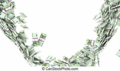 100 Euro bundles flow, slow motion - 100 Euro bundles flow...