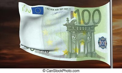 100 euro flag 3d animation