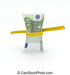 100 euro money in measuring tape 3d illustration