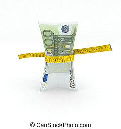 100 euro money in measuring tape 3d illustration