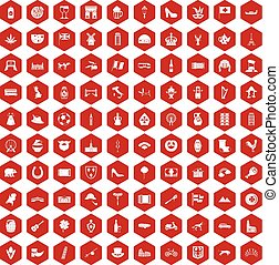 100 Europe icons hexagon red