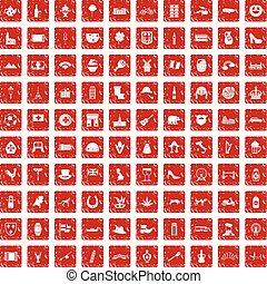 100 Europe icons set grunge red