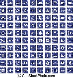100 Europe icons set grunge sapphire