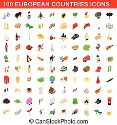 100 European countries icons set, isometric style