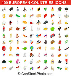 100 European countries icons set, isometric style
