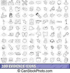 100 evidence icons set, outline style - 100 evidence icons ...