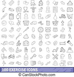 100 exercise icons set, outline style