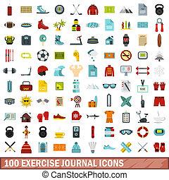 100 exercise journal icons set, flat style