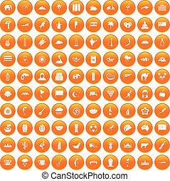 100 exotic animals icons set orange
