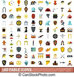 100 fable icons set, flat style