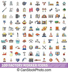 100 factory worker icons set, cartoon style