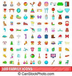 100 family icons set, cartoon style
