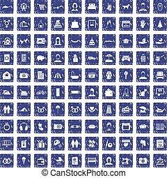 100 family icons set grunge sapphire