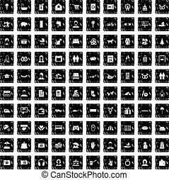 100 family icons set, grunge style