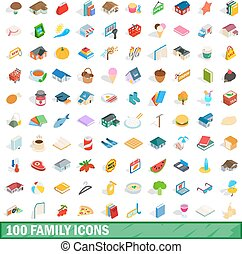 100 family icons set, isometric 3d style