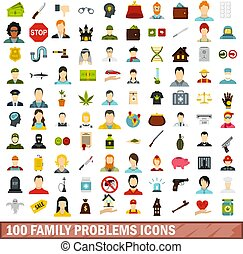 100 family problems icons set, flat style