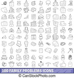100 family problems icons set, outline style