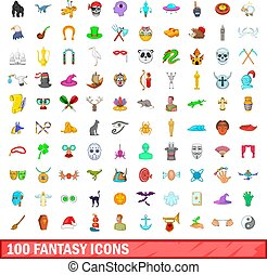 100 fantasy icons set, cartoon style