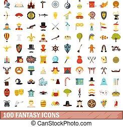 100 fantasy icons set, flat style