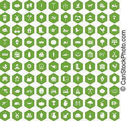 100 farm icons hexagon green