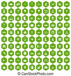 100 farm icons hexagon green - 100 farm icons set in green...