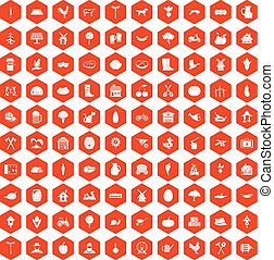 100 farm icons hexagon orange
