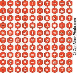 100 farm icons hexagon orange - 100 farm icons set in orange...