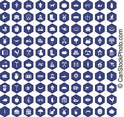 100 farm icons hexagon purple - 100 farm icons set in purple...