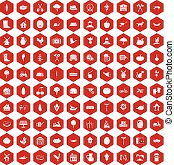 100 farm icons hexagon red - 100 farm icons set in red...