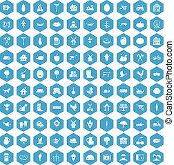 100 farm icons set blue - 100 farm icons set in blue hexagon...