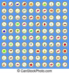 100 farm icons set cartoon vector