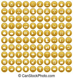 100 farm icons set gold - 100 farm icons set in gold circle...