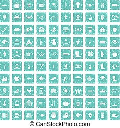 100 farm icons set grunge blue