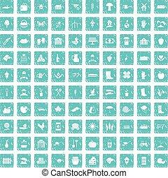 100 farm icons set grunge blue - 100 farm icons set in...