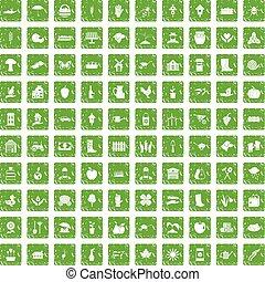 100 farm icons set grunge green - 100 farm icons set in...