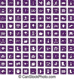 100 farm icons set grunge purple - 100 farm icons set in...
