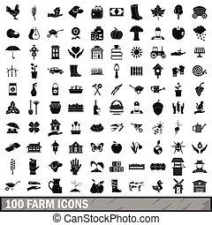 100 farm icons set, simple style - 100 farm icons set in...