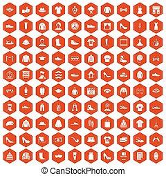 100 fashion icons hexagon orange