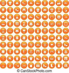 100 fashion icons set orange