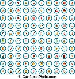 100 favorite food icons set, cartoon style