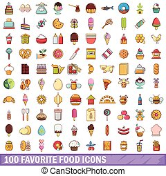 100 favorite food icons set, cartoon style