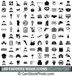 100 favorite work icons set, simple style