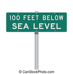Vector illustration of the 100 Feet Below Sea Level green road sign