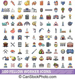 100 fellow worker icons set, cartoon style